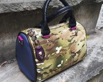 Small Leather Barrel Bag in YOUR CHOICE of leathers - Satchel Handbag - Boston Bag- Laurel Dasso