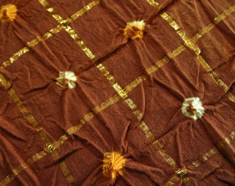 Brown and Gold - Bandhani (Indian Tie-Dyed) cotton Fabric  (1 yard)