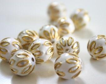 SALE  White floral spheres - Floral Cloisonné Meena beads (2) 12mm