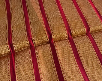 Luscious Red & Gold - 1 yard of Silk Brocade Fabric in red and gold stripes
