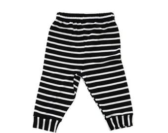 Black and White  Leggings, Striped Baby Leggings, Gender Neutral Baby and Toddler Pants 0-3 M to 2T