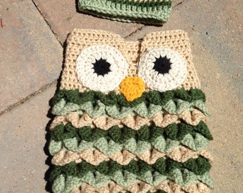 Baby Owl Cocoon and Cap
