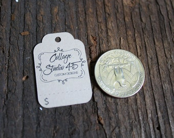 """200 tags - 3/4""""x 1.5"""" - Fancy Cut  Customized Small Price Tags Jewelry Hang Tags Labels MT03"""