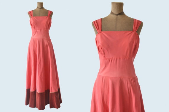 1950s Rose Satin Gown size L