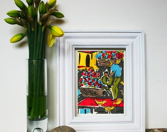 French 1950's Fabric Design Print to Frame- Market Scene