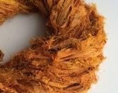 Premium quality sari silk ribbon, Unique eyelash edging, Amazing soft silk, 100g, Tiger orange iridescent ribbon yarn.