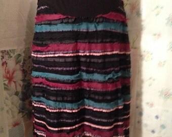 MEDIUM, Maternity Bohemian Hippie Ribbon Skirt