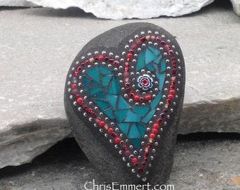 Mosaic Heart, Mosaic Rock, Mosaic Garden Stone, Teal, Red, Home Decor, Gardening, Gardening Gift,