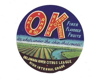OK Oklawaha River Citrus League Vintage Crate Label, 1940s