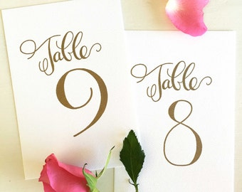 Gold Table Numbers, Wedding Table Numbers Gold, Calligraphy Table Numbers, Elegant Table Numbers, Wedding Reception Decor, Wedding Decor