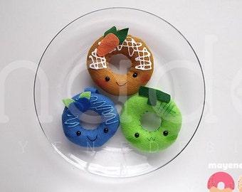 mini donut plush toy keychain, melon or blueberry or carrot cake (kawaii plush felt food doughnut keychain)