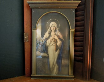 Vintage / Antique Mother Mary / Moadonna / Wood Picture Frame / Virgin Mary