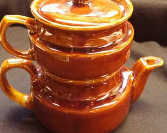 Brown Pottery Coffeepot