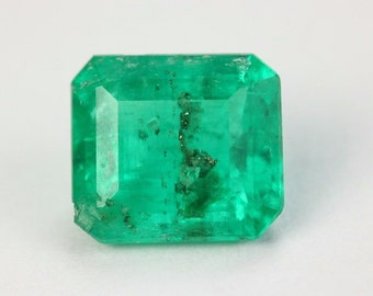 Pure Green 1.76 Cts Loose Colombian Emerald Cut Gemstone From Muzo
