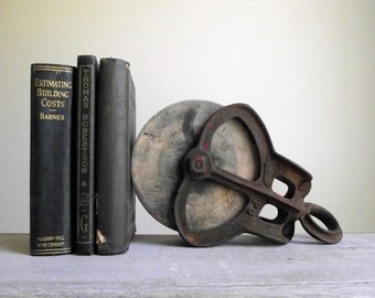 Industrial Pulley Bookend | Antique Cast Iron and Wood Barn Pulley