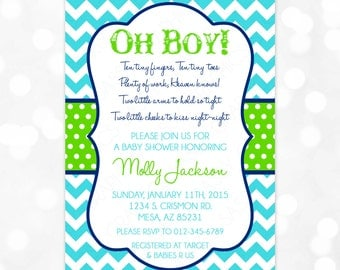 baby boy shower invitation baby boy chevron navy blue turquoise green oh baby itu0027s a