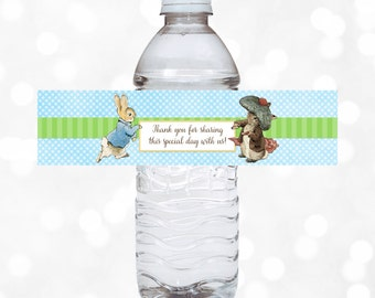 Peter Rabbit Water Bottle Wrappers Baby Shower Wrappers Birthday Party Decor Party Printable Peter Rabbit Party Favor Tag Download PDF (#2)