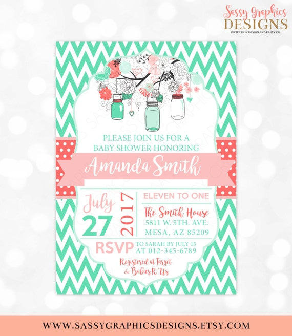 Mason jars baby shower invitation baby girl invite coral mint il570xn filmwisefo