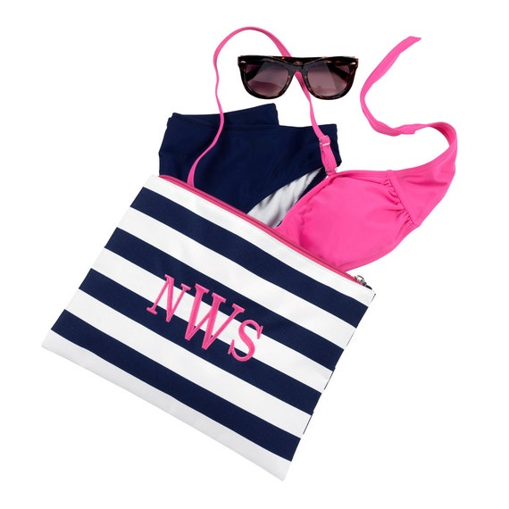 Prep Stripe Zip Pouch in Navy and Hot Pink