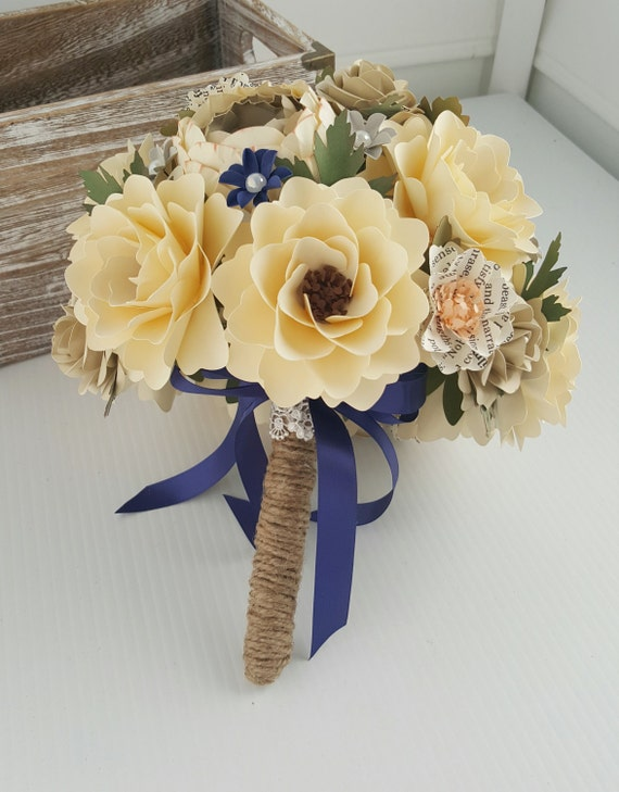 Handmade Paper Bouquet - Paper Flowers - Wedding Bouquet - Book Page ...
