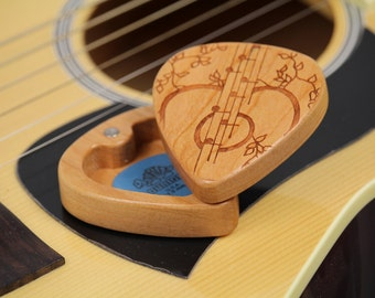 "Guitar Pick Box, 2-1/4"" x 2"" x 3/4"" d, Pattern G32 slender, Solid Cherrywood, Laser Engraved, Paul Szewc"