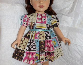 Colorful patchwork print dress with puffy sleeves for 18 inch dolls - ag278