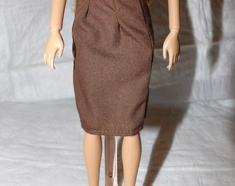 Fashion Doll Coodinates - Solid chocolate brown skirt - es397