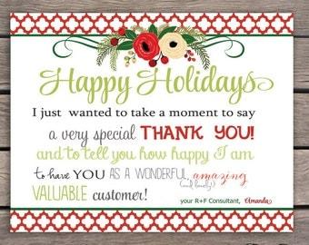 Thank You Note Card - Printable - Christmas- Digital