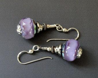 Lampwork Earrings, Purple Earrings, Flamework Beads, Art Glass Earrings, Artisan Beads