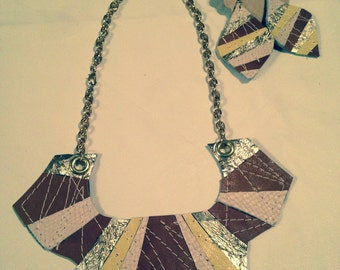 Leather Patchwork Jewelry Set