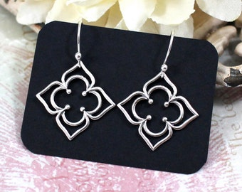 Clover Earrings Sterling Silver | Petaled Clover Earrings | Silver Clover Earrings | Quatrefoil Earrings | Sterling Silver