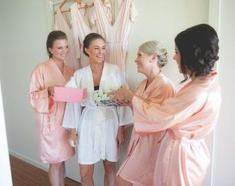 Bridesmaid robes Coral wedding robe Peach bridesmaid silk robe dressing gown personalized silk robe kimono robe junior bridesmaid robe cheap