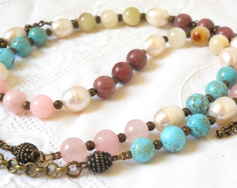 long gemstone necklace boho necklace bohemian necklace stone necklace chalky turquoise fresh water pearl jade rose quartz rhodonite boho