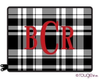 "BASIC PLAID personalize laptop sleeve 13"" or 15"" - with monogram - NEW elastic tabs give you the option to keep the sleeve on while you work"
