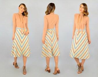 70's Chevron Stripe Midi Skirt