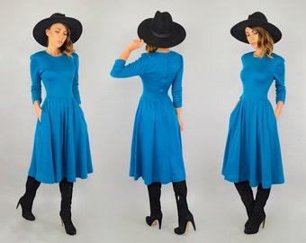 80's Blue Sweater Dress W/ Pockets