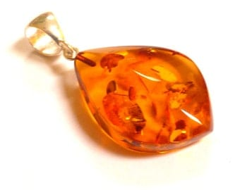 "Baltic Amber Cognac Faceted Pendant Natural Sparkling 1.9"" 5.4 gram 925 Silver"