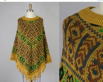 SALE 20% Off 1970s Vintage Wool Fringe Sweater Poncho (XS, S, M)