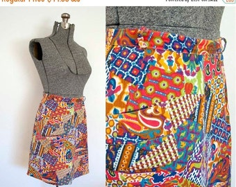 SALE 40% Off 1960s Vintage PECK & PECK High Waist Print Skirt (M)