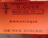 Superb batch 25 antique French pharmacie apothecary chemists labels unused c1910 AMMONIAQUE