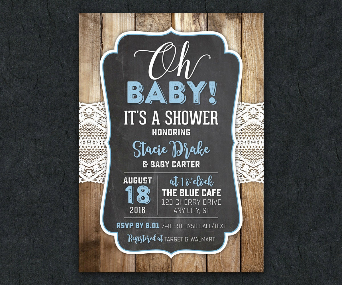 rustic lace baby shower invitation wood background printable