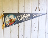 Vintage Ely Minnesota Souvenir Pennant - Canoe Country - Fisherman in Boat with Jumping Fish - Mid-Century 1950s