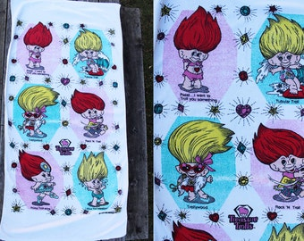Vintage Vtg Vg 1990's TOTALLY Tubular Treasure Trolls Beach Towel Hipster Kitsch Funny Bling Retro Rock N' Troll Towel Accessory Novelty