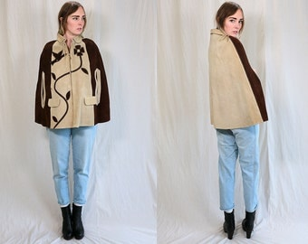 Vintage VTG VG Women's 1970's 70's 1960's 60's Bohemian Hippie Rocker Leather Sewn and Embelleshed Poncho Cape with Birds Made in Mexico