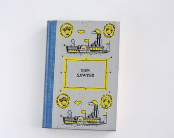 Vintage Tom Sawyer Book Hardcover Junior Deluxe Edition Mark Twain 1950s Children's Fiction
