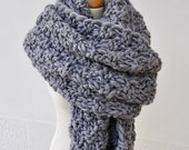 Men's Blanket Scarf, Grey Knit Scarf, Super Chunky Oversized Scarf, Extra Wide Wool Scarf, Super Sized Knitted Scarf