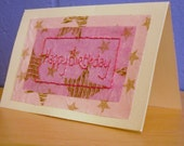 Embroidered Card, Hand Stitched Cards, Birthday Card, Pink Card,  Birthday Card