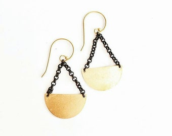 Black + Brass Semi Circle Earrings