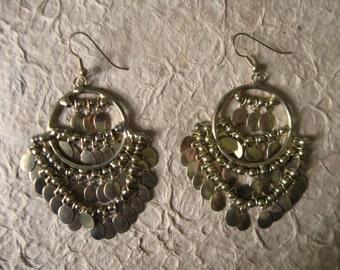 Vintage Large Brass Dangly Chandelier Earrings
