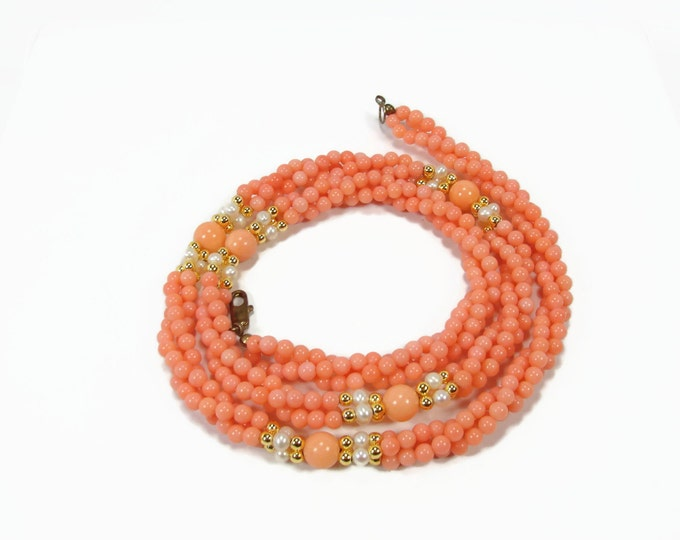 Vintage Faux Coral and Pearl Twist Necklace
